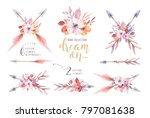 hand drawn watercolor tribal... | Shutterstock . vector #797081638