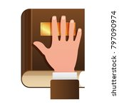 hand on constitution as oath... | Shutterstock .eps vector #797090974