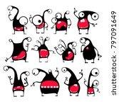 set of twelve cute black... | Shutterstock .eps vector #797091649