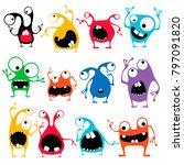 set of twelve cute color... | Shutterstock .eps vector #797091820