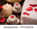 wellness decoration on wooden... | Shutterstock . vector #797102326