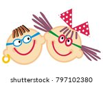 portrait  boy and girl with...   Shutterstock .eps vector #797102380