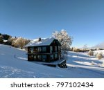 wooden cabin in winter scenery. ... | Shutterstock . vector #797102434