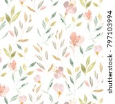 pattern of herbs and flowers... | Shutterstock . vector #797103994