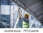 handsome asian electrical... | Shutterstock . vector #797116696