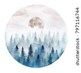 landscape in a circle with the... | Shutterstock . vector #797116744