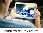 man using smart home... | Shutterstock . vector #797121394