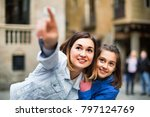 young  cheerful  mother and... | Shutterstock . vector #797124769