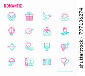romantic thin line icons set ... | Shutterstock .eps vector #797136274