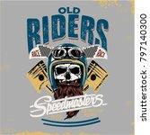 vector skull rider illustration | Shutterstock .eps vector #797140300