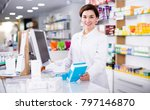 happy pharmacist ready to... | Shutterstock . vector #797146870