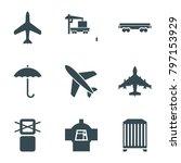 cargo icons. set of 9 editable... | Shutterstock .eps vector #797153929