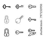 unlock icons. set of 9 editable ...   Shutterstock .eps vector #797153950