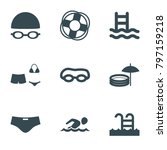 swim icons. set of 9 editable... | Shutterstock .eps vector #797159218