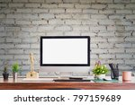 stylish workspace with desktop... | Shutterstock . vector #797159689