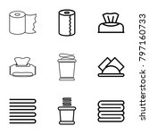 Stock vector towel icons set of editable outline towel icons such as towels baby napkin paper towel 797160733