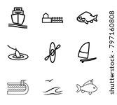 sea icons. set of 9 editable... | Shutterstock .eps vector #797160808