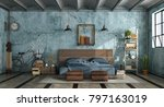 master bedroom in industrial... | Shutterstock . vector #797163019