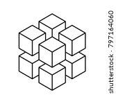 geometric cube of 8 smaller... | Shutterstock .eps vector #797164060