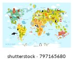 vector map of the world with... | Shutterstock .eps vector #797165680