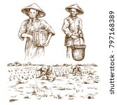 asian farmers working on field. ... | Shutterstock .eps vector #797168389