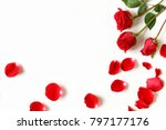 Stock photo red roses and rose petals isolated on white 797177176