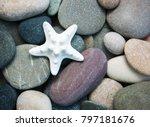 Sea Pebble Stones And Starfish...