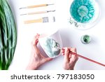 painted ceramic cup on white...   Shutterstock . vector #797183050