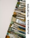 well used artists paintbrushes... | Shutterstock . vector #797187394