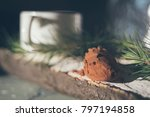 cocoa powder in the wooden... | Shutterstock . vector #797194858