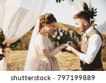 bride and groom look lovely... | Shutterstock . vector #797199889