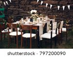 little dinner table served in... | Shutterstock . vector #797200090