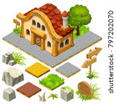 3d isometric cottage with... | Shutterstock .eps vector #797202070