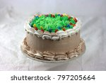 chocolate cake with green... | Shutterstock . vector #797205664