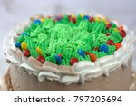 chocolate cake with green... | Shutterstock . vector #797205694