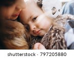 mom and daughter are walking in ... | Shutterstock . vector #797205880