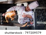 cooking pig on the grill | Shutterstock . vector #797209579