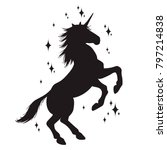 magic unicorn silhouette ... | Shutterstock .eps vector #797214838