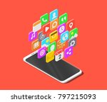 modern smartphone with cloud of ... | Shutterstock .eps vector #797215093