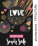 valentine's day sale banner or... | Shutterstock .eps vector #797217190