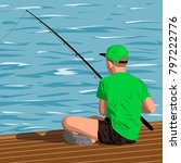 boy in the green shirt and... | Shutterstock .eps vector #797222776