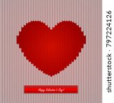 knitted background with heart | Shutterstock .eps vector #797224126