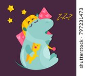 vector image of a funny sleepy... | Shutterstock .eps vector #797231473