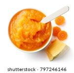 pumpkin and carrot baby puree...   Shutterstock . vector #797246146