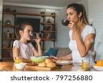 mother and daughter morning... | Shutterstock . vector #797256880