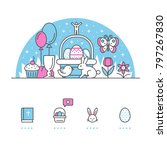easter banner and icons with... | Shutterstock .eps vector #797267830