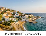 relaxing at the greek... | Shutterstock . vector #797267950