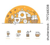 coffee banner and icons with... | Shutterstock .eps vector #797268208