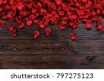 Stock photo romantic happy valentines day greeting card women s day wedding invitation dark wooden textured 797275123
