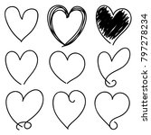 set of nine black hand drawn... | Shutterstock .eps vector #797278234